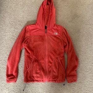 Women's pink furry fleece north face jacket hoodie